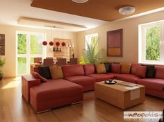 Excellent Living Room Red Color And Bright Decorating Ideas Home ...