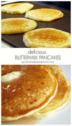 These buttermillk pancakes are delicious and easy to make. Nothing beats a yummy homemade pancake. What's For Breakfast, Breakfast Dishes, Breakfast Recipes, Pancake Recipes, Christmas Breakfast, Homemade Buttermilk Pancakes, I Love Food, Brunch Recipes, The Best