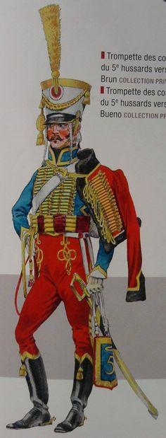 """Trompette des compagnies ordinaires du 5e hussards, vers 1803-1805, d'après Charles Brun, collection privée (V. Bourgeot, Y. Martin : """"Les Trompettes de cavalerie"""")"""