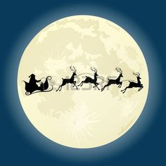 moon: Santa Claus silhouette riding a sleigh with deers in front of moon. Vector illustration