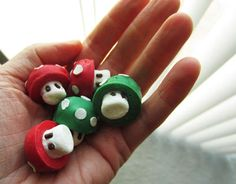 Super Mario Bros. Mini Mushrooms  ha made with candy melts and a special ice cube tray