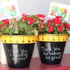 DIY Teacher appreciation gift - paint a pot to make the rim look like a ruler