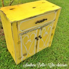 chalk paint, yellow, refinished cabinet, monogrammed, Annie Sloan old white, distressed furniture