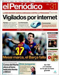Los Titulares y Portadas de Noticias Destacadas Españolas del 31 de Marzo de 2013 del Diario El Periódico de Catalunya ¿Que le parecio esta Portada de este Diario Español?