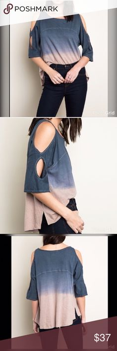 Stunning in this hi lo cold shoulder ombré top! Denim an taupe ombré top hi lo with side spilt and exposed shoulder detail!!  Tops