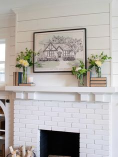 Fixer Upper: Brick Cottage for Baylor Grads The brick fireplace, wood mantel and shiplap are painted in bright white which offers a striking balance with the dark stained floors and blue-gray walls. Painted Brick Fireplaces, Shiplap Fireplace, White Fireplace, Farmhouse Fireplace, Cozy Fireplace, Living Room With Fireplace, Fireplace Mantels, My Living Room, White Mantel