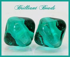 Transparent Teal Green Bicone Glass Beads  by Gillianbeads on Etsy (Craft Supplies & Tools, Jewelry & Beading Supplies, Beads, Bicone Beads, canada, jewelry supplies, glass beads, pair, bicone, jewellery supplies, handmade lampwork, Canadian lampwork, SRA lampwork, teal glass beads, teal green beads, made to order beads, sea glass)