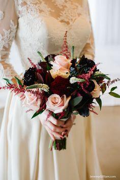 Fleurs de France: Fleurs de France Floral: Dallas Wedding Florist: Wedding Flowers: Blush, burgund/merlot textural bouquet.