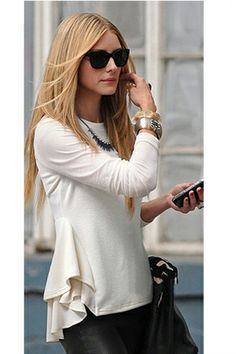 Puff skirt round neck long-sleeved T-shirt