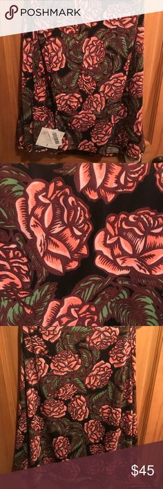 NWT L LLR Roses over Black Printed Maxi Skirt For sale is a NWT LuLaRoe Maxi Skirt in a size Large. This Maxi features a super pretty print of Pink and Red Roses all over a black background!! Slinky material with lots of stretch!!! Posted pics of fabric content and fully attached original tags. LuLaRoe Skirts Maxi
