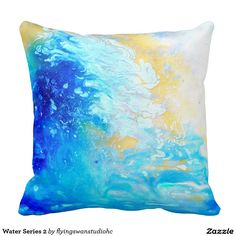 Original abstract painting by H Cooper - Water Series 2 Throw Pillow http://www.zazzle.com/flyingswanstudiohc*