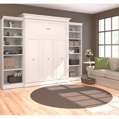 Enhance Any Guest Bedroom or Office with This Adjustable Queen Murphy Bed. This Wall Bed Hides Away Quickly and Conveniently. Find Comfort and Rest with This Bed. Queen Murphy Bed, Murphy Bed Desk, Murphy Bed Plans, Office With Murphy Bed, Bungalow, Modern Murphy Beds, Guest Room Office, Bedroom Office, Bed Wall