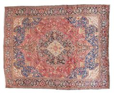 HERIZ / IRAN  Item Number:19695 Width: 10 ft. 9 in. Length: 13 ft. 8 in. Field: GEOMETRIC Field Color: RED Border Color: NAVY www.togarrugs.com (828)-687-1968