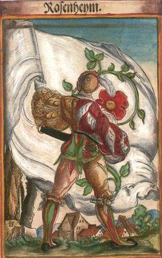 """Rosheim im Elsass [Rosenheym] (f°61) -- Koebel, Jacob, """"Wapen des heyligen römischen Reichs teutscher Nation"""", Franckfurth am Main, 1545 [BSB Ms. Rar. 2155]"""