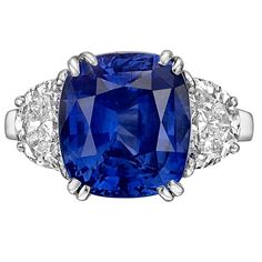 7.66 Carat Ceylon Sapphire and Diamond Ring | From a unique collection of vintage cocktail rings at https://www.1stdibs.com/jewelry/rings/cocktail-rings/