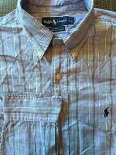 Men Ralph Lauren Blake Blue White Yellow Pink Plaid Large Shirt L/S 2-Ply Cotton #RalphLauren #ButtonFront