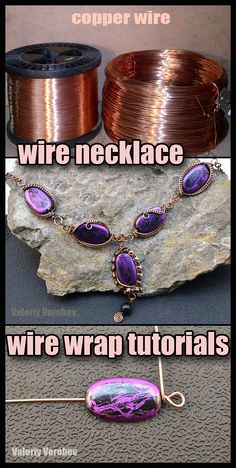 Wire Necklace, Wire Wrapped Necklace, Wire Wrapped Rings, Wire Earrings, Wire Wrapped Pendant, Necklaces, Wire Jewelry Making, Jewelry Making Tutorials, Crochet Necklace Tutorial
