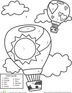 Preschool Counting & Numbers Color by Number Worksheets: Color by Number: Hot Air Balloons Preschool Worksheets, Preschool Activities, Balloon Crafts Preschool, Number Worksheets, Kids Crafts, Coloring Pages For Kids, Coloring Books, Alphabet Coloring, Transportation Theme Preschool
