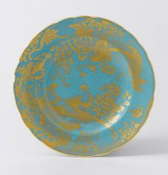 Royal Crown Derby's Gold Aves Turquoise Accent Plate