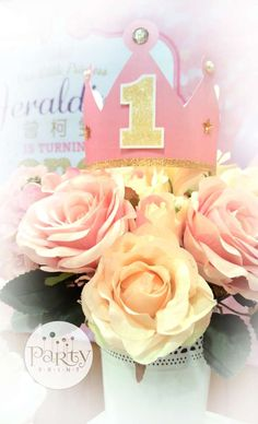 Flower centerpiece at a princess birthday party! See more party planning ideas at CatchMyParty.com!
