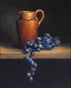 Still Life with Creamer and Grapes by Elizabeth Floyd, 10 x 8 inches, oil on linen panel