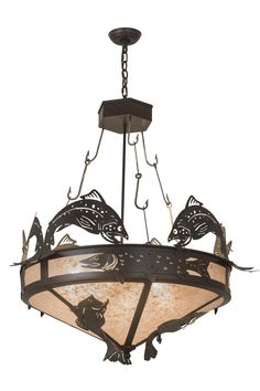 "Meyda 35""W Catch Of The Day Inverted Pendant"