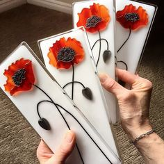 "Assorted Poppy minis | Fused Glass Panels 3""x9"" 
