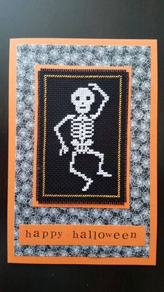 Happy Halloween. Cross stitch greeting card. Fall Cross Stitch, Cross Stitch Cards, Halloween Cross Stitches, Happy Halloween, Stitch Patterns, Greeting Cards, Unique Jewelry, Board, Handmade Gifts