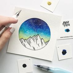 Pretty little blue and yellow galaxy piece I finished up over the weekend! I've been really feeling this color combo lately. So you may possibly be seeing more like this . . And if you're wondering where I got the watercolors from--My friend Tanya of @paintandletters MAKES HER OWN watercolors (so cool, right?!), so of course I had to buy a sample pack and try them out myself! I really loved painting with these, I'll definitely be using them for more pieces