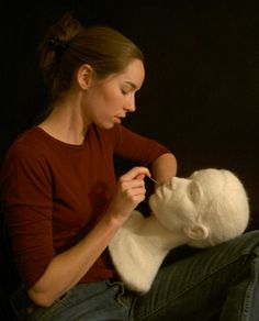 Stephanie Metz at work on a felted wool portrait bust
