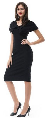 Betty Rose Women's Black Double V Neck Short Sleeve Midi Office Pencil Dress