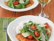 Chicken Milanese with Spinach and Burst Tomatoes 7 WW pts+
