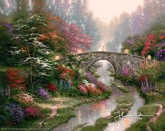 Thomas Kinkade - Stillwater Bridge  1997