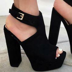Peep Toe Platform Chunky Heel