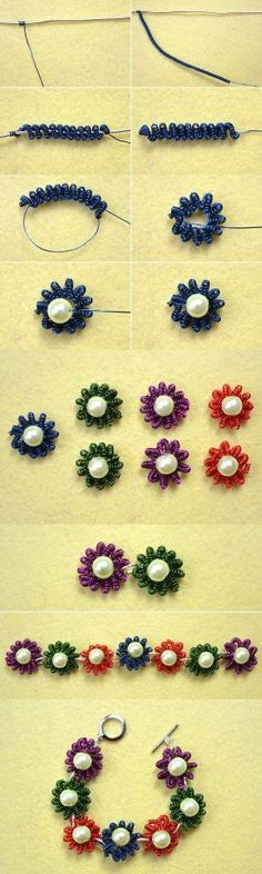 Coiling Gizmo Projects � How to Make a Flower Coiled Wire Bracelet with Beads from LC.Pandahall.com | Jewelry Making Tutorials & Tips 2 | Pinterest by Jersica