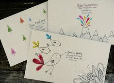 Hand drawn envelopes for mail art exchanges