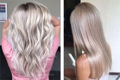 43 Ideas For Hair Color Silver Blonde Style Hair Color Asian, Hair Color And Cut, New Hair Colors, Hair Color Balayage, Blonde Color, Hair Highlights, Cool Blonde, Long Eyebrows, Dye Eyebrows