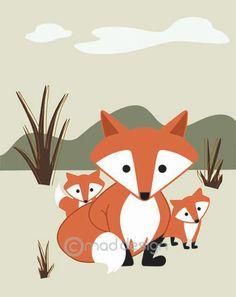 Fox Art Print / Wall Art / Kids / Woodland Nursery by maddesign Modern Art Prints, Wall Art Prints, Pop Art Tattoos, Digital Art Fantasy, Forest Art, Art Nouveau Design, Fox Art, Funny Art, Art Sketchbook