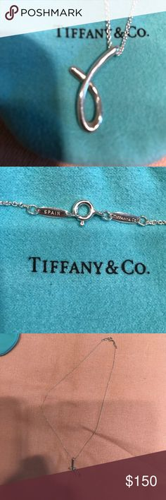 Tiffany and company necklace Elsa Peretti alphabet necklace in sterling silver. Only worn a few times. Letter J on 16 inch chain. Comes with dust bag and box. Tiffany & Co. Jewelry Necklaces