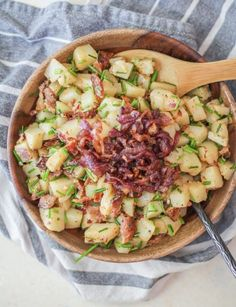 German-style potato salad with vinegar, bacon, caramelized onions, and chives – the perfect flavor-packed side dish for your picnics and barbecues. Lately, I've been spelling things fuhneticl…