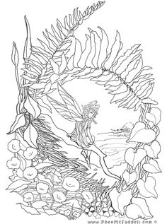 Fairy Resting Place Coloring Page - tons of free fairy tale digis www.pheemcfaddell.com