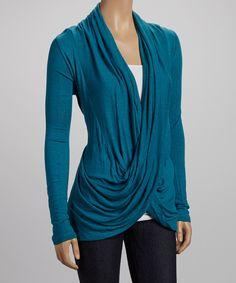 Turquoise Twist Drape Top