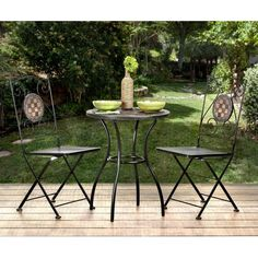 Furniture of America Braum Black 3-Piece Stone Top Cast Iron Bistro... ($225) ❤ liked on Polyvore featuring home, outdoors, patio furniture, outdoor patio sets, black, black outdoor furniture, cast iron patio furniture, cast iron garden furniture, weather resistant patio furniture and cast iron outdoor furniture