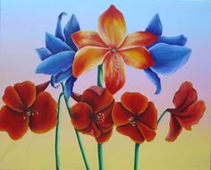 """""""Atardecer con flores"""" 100 x 73 cm Acrílico"""