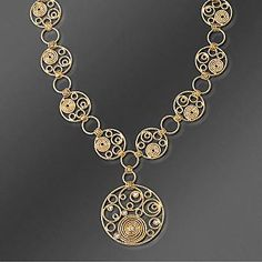 $3,495. gorgeous! Roberto Coin 18kt Yellow Gold Swirl Design Multi-Circle Necklace With Ruby. 16""