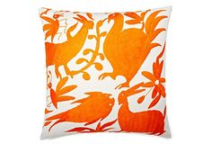 Wild 18x18 Embroidered Pillow, Orange on OneKingsLane.com