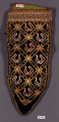 Sock  Date: late 18th century Geography: Iran Medium: Silk, metal Dimensions: H. 11 1/2 in. (29.2 cm) W. 6 in. (15.2 cm)