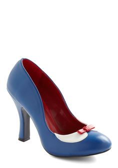 Glad You Collared Heel by Pinup Couture - Blue, Red, White, Bows, Work, Casual, 60s, Faux Leather, High