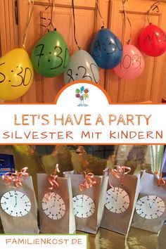 Silvester mit Kindern – Ideen für Spiele, mit Luftballons und Countdown-Bads: w… New Year's Eve with Kids – Ideas for Games, Balloons and Countdown Baths: www. Shower Party, Baby Shower Parties, Diy Dessert, Silvester Diy, Party Silvester, New Years Eve Party, Childrens Party, Balloon Decorations, Kids And Parenting