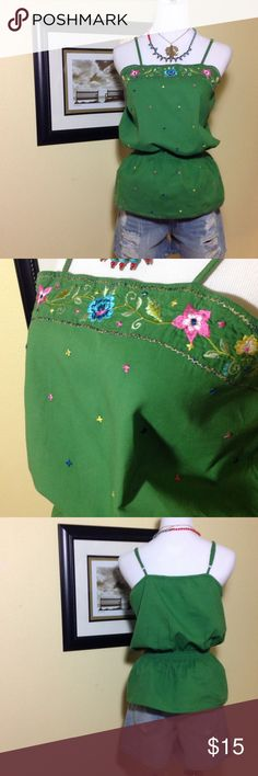 Green Top with Embroidered Detail This top has a floral embroidered detail on front. The straps are adjustable and the top gathers gently at the waist. Karizma Tops Tank Tops